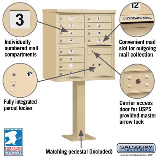 Salsbury Industries cluster box unit locking mailbox 12A sandstone