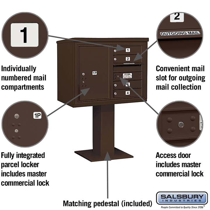 Salsbury Pedestal Mounted 4C Horizontal Mailbox Unit 6 door double bronze