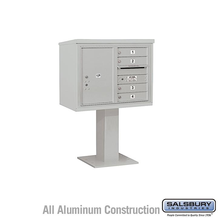 Salsbury Pedestal Mounted 4C Horizontal Mailbox Unit 6 door double gray
