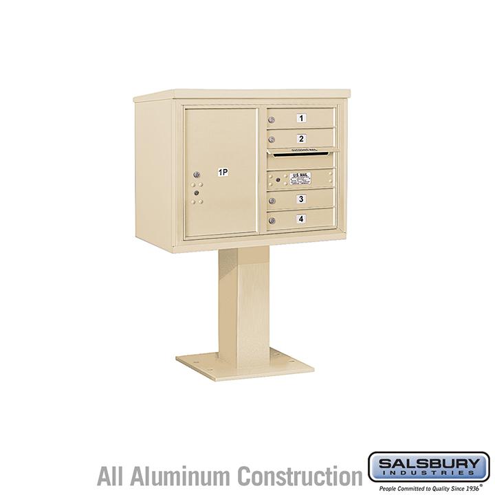 Salsbury Pedestal Mounted 4C Horizontal Mailbox Unit 6 door double sandstone