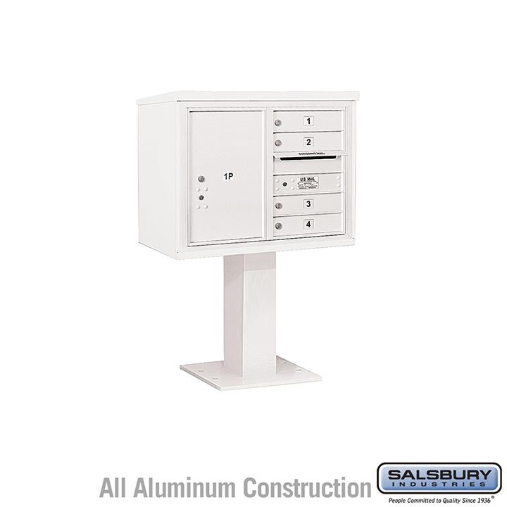 Salsbury Pedestal Mounted 4C Horizontal Mailbox Unit 6 door double white