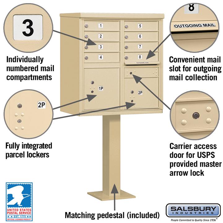 Salsbury 8a cluster box unit locking sandstone