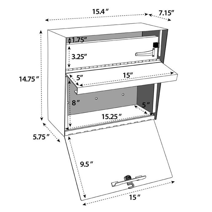 metro locking mail box measurements